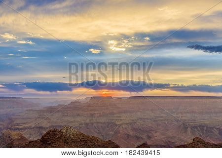Sunset At Grand Canyon From Desert View Point, South Rim