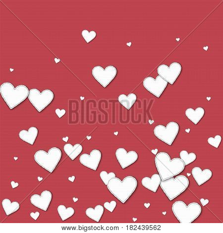 Cutout Paper Hearts. Bottom Gradient On Crimson Background. Vector Illustration.