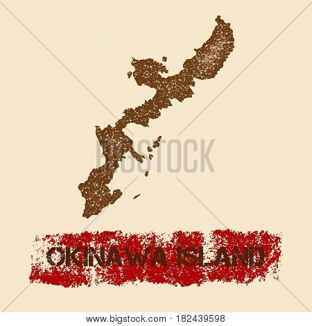Okinawa Island Distressed Map. Grunge Patriotic Poster With Textured Island Ink Stamp And Roller Pai
