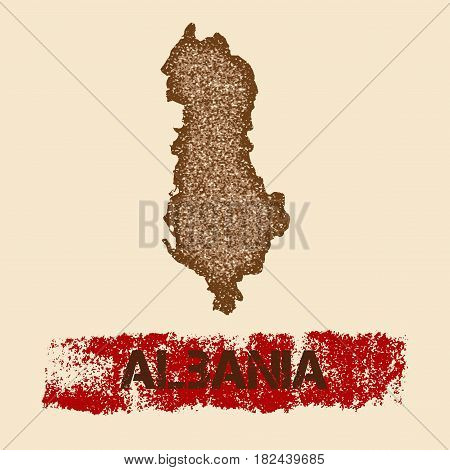 Albania Distressed Map. Grunge Patriotic Poster With Textured Country Ink Stamp And Roller Paint Mar