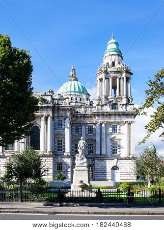Titanic Memorial monument (erected in 1920) and Titanic Memorial Garden commemorating all the victims of Titanic disaster in Donegall Square in front of Belfast city hall Northern Ireland