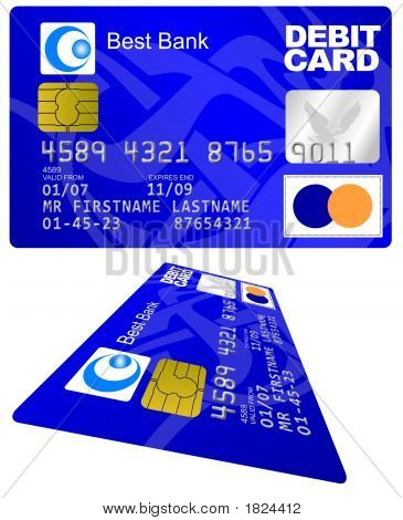 Real-looking illustration of a debit card blue on a white background with the 3D perspective poster