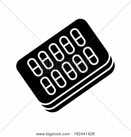 pills blister pack icon. Outline graphic blister with pills for illness and pain treatment. Medical drug package for tablet: vitamin, antibiotic, aspirin. Vector illustrations of pack isolated on white background. Eps 10
