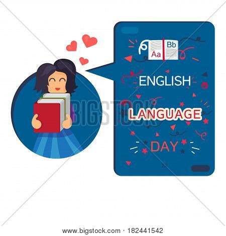 English Language Day Banner With Reading Girl Book and Letters A B Z. Vector