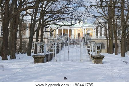 April evening and the ramp of the Cameron gallery in Tsarskoye Selo