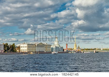 The river Neva and the Peter and Paul Fortress in St. Petersburg in the summer