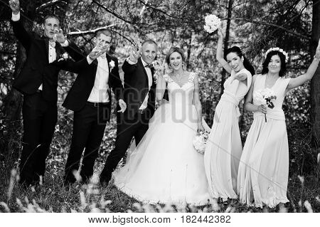 Fashionable Wedding Couple With Bridesmaids On Pink Dresses And Best Mans With Turqoise Bow Ties At
