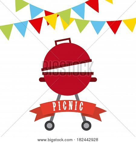 decorative pennants and barbecue grill icon over white background. colorful design. vector illustration