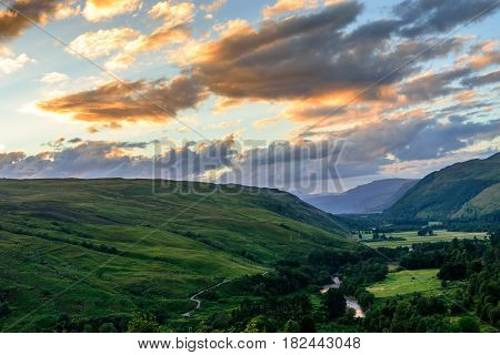 Evening dusk in the valley of Mellon Udrigle in Scotland