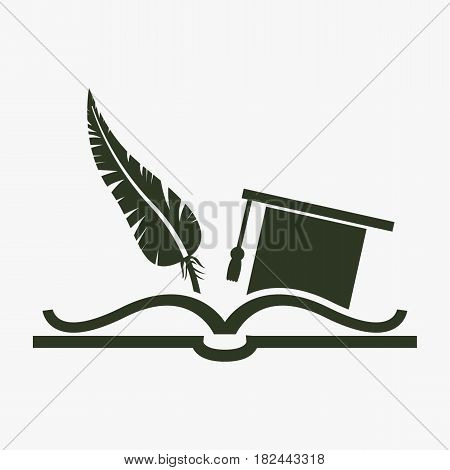 Education symbol. Celebrating graduation hat feather and book.