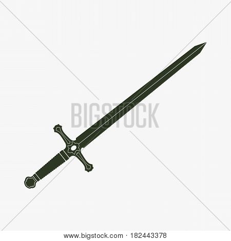 Sword vector icon. Black icon on gray backround.