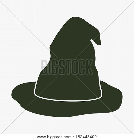 Witch hat vector icon. Black icon on gray backround.