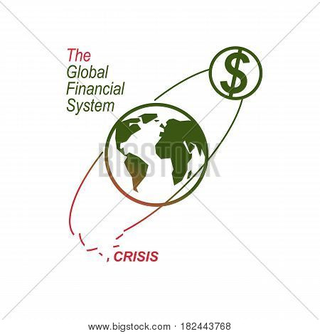 Global Financial Crisis Conceptual Logo, Unique Vector Symbol. Banking System. The Global Financial