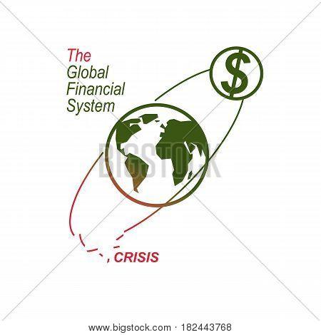 Global Financial Crisis Conceptual Logo, Unique Vector Symbol. Banking System. The Global Financial