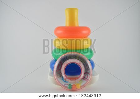 child plastic stacking colorful rings on wobble base