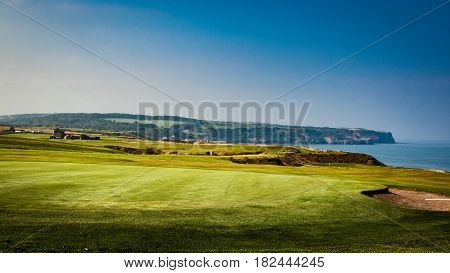 landscape Whitby Cliffs near golf course over looking the see
