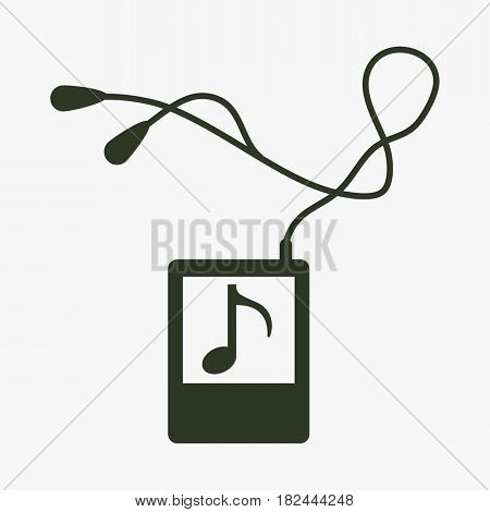 Portable music device icon. Black icon on gray backround.