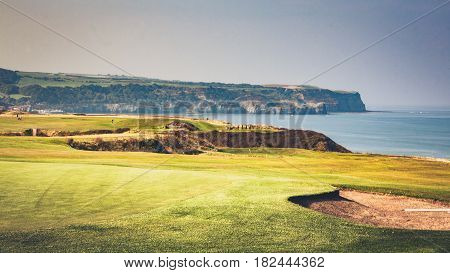 landscape Whitby Cliffs near golf course over looking the sea