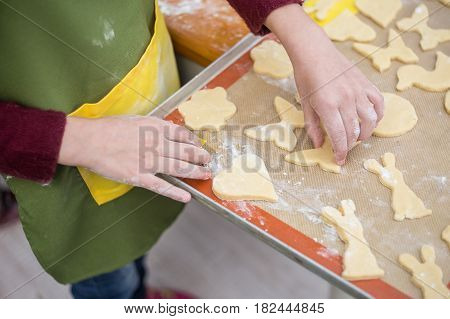 Female Hands Poured With Flour Put Cookies From Raw Short Pastry Cutted Into Various Forms On Tray.
