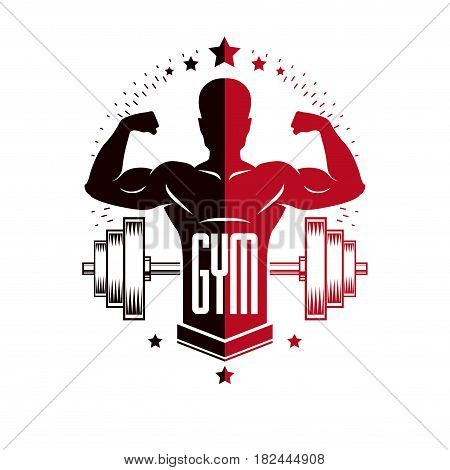 Bodybuilding and fitness sport logo templates retro style vector emblem. With bodybuilder silhouette.