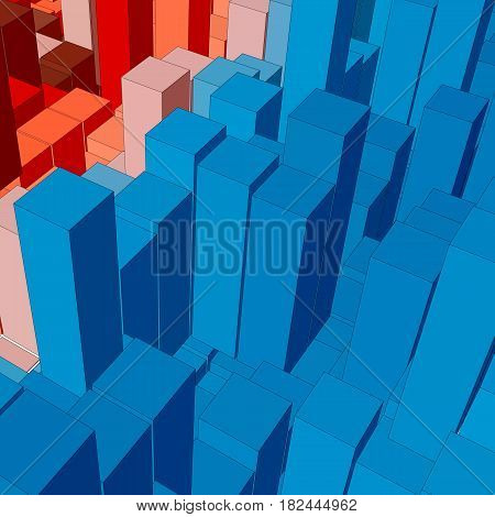 Abstract landscape with colored cubes. Abstract topographies of digital space. Fields of geometry. Abstract city with skyscrapers. Vector background. Eps 10