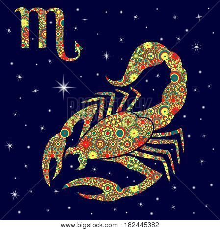 Zodiac Sign Scorpio With Variegated Flowers Fill Over Starry Sky