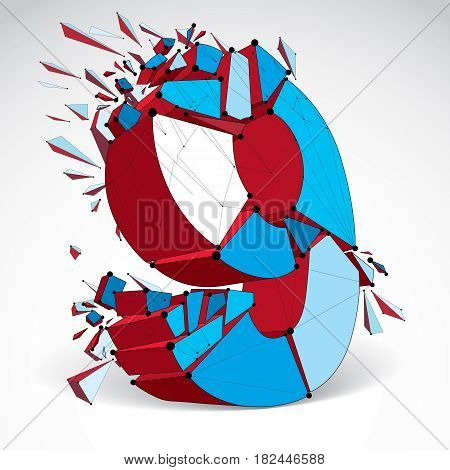 Abstract vector low poly wrecked number 9 with black lines and dots connected. 3d origami colorful futuristic font with lines mesh.