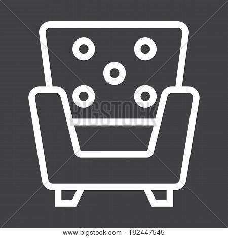 Armchair line icon, Furniture and interior element, vector graphics, a linear pattern on a black background, eps 10.