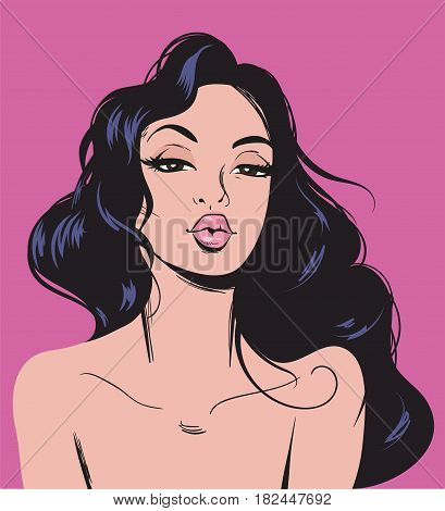 Elegant Romantic Sexy Woman Pop Art. Fashionable Beautiful Brunette Woman Retro Comic Style.