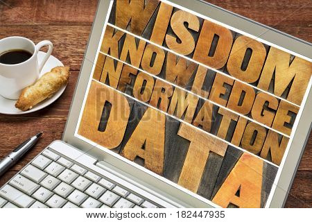 data, information, knowledge and wisdom - word abstract in vintage letterpress wood type on a laptop screen