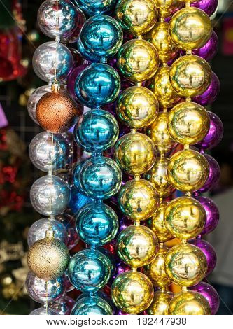 colorful ball Christmas decoration. Abstract macro background.
