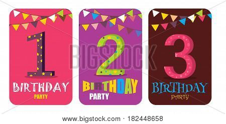 Birthday Card colorful fun vector. Happy Birthday Anniversary Numbers Invitation Card Template. Birthday banner event design celebrate. Holiday party banner anniversary carnival invitation.