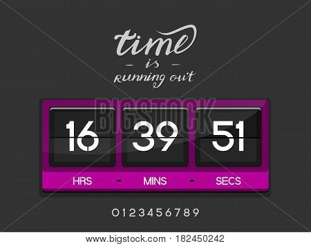 Countdown Timer for the website. Square section. Hours, minutes, seconds. dark gray background. Stock inscription time is running out, lettering