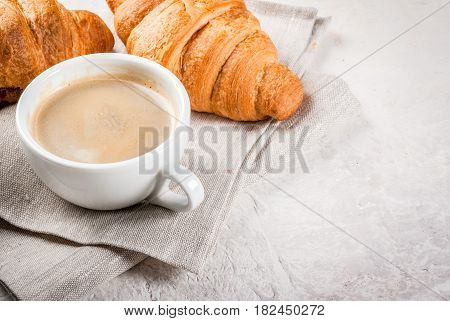 Croissants With A Cup Of Coffee