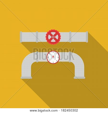 Valve and meter icon in flat style isolated on white background. Plumbing symbol vector illustration.