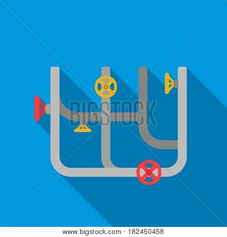 Pipes with valves icon in flat style isolated on white background. Plumbing symbol vector illustration.