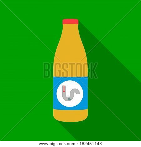 Drain cleaner icon in flat style isolated on white background. Plumbing symbol vector illustration.