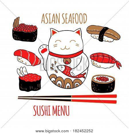Vector set with cat maneki neko, sushi and chopsticks.