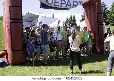 Laval, Quebec - June 14, 2015 - Landscape of a large group of people at the starting line of the
