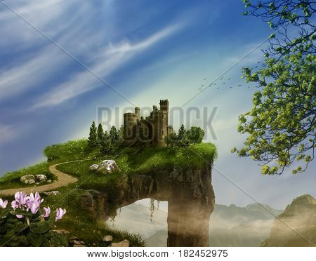 Fantasy landscape with cliff castle and mountains. 3 D rendering