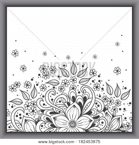 Wedding invitation card with vector abstract floral elements in Indian mehndi style. Abstract henna floral vector illustration. Grayscale design element.