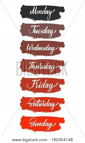 Days of the week gradient set. Vector illustration: brush calligraphy, hand lettering. For calendar, schedule, diary, journal, postcard label sticker and decor