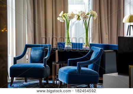 Elegant Navy Blue Armchairs