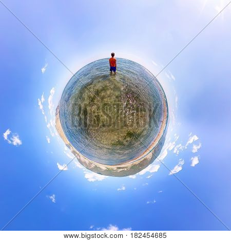 Spherical Panorama 360 180 Man Standing In The Sea