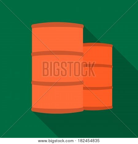 Oil barrels icon in flat style isolated on white background. Oil industry symbol vector illustration.