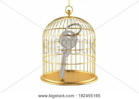 Birdcage with key inside 3D rendering isolated on white background