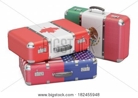 Travel concept suitcases with flags of USA Canada and Mexico. 3D rendering
