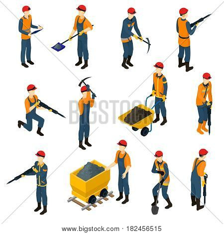 Isometric miners set with workers in uniform holding shovel drill pickaxe and transporting coal isolated vector illustration
