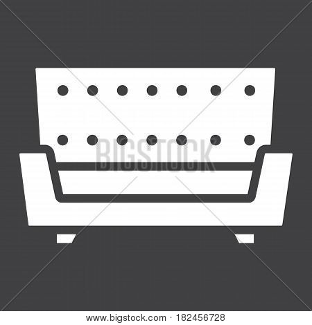 Sofa solid icon, Furniture and interior element, couch vector graphics, a filled pattern on a black background, eps 10.