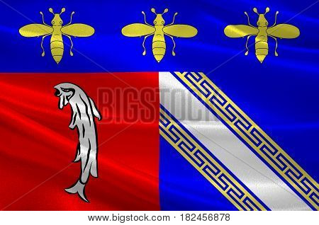 Flag of Bar-sur-Aube is a French commune and a sub-prefecture in the Aube department in the Grand Est region of France. 3d illustration